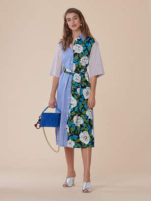Diane von Furstenberg Sleeve Cotton Belted Shirt Dress