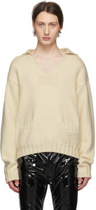 Maison Margiela White Cashmere V-Neck Sweater