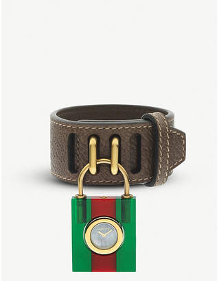 Gucci YA150505 Constance mother-of-pearl and leather strap quartz watch