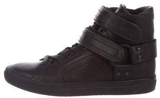 Pierre Hardy Leather High-Top Sneakers