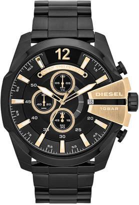 Diesel Men's Chronograph Mega Chief Black Ion-Plated Stainless Steel Bracelet Watch 51x59mm DZ4338