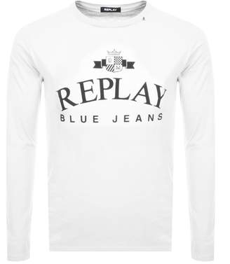 Replay Logo Long Sleeved Crew Neck T Shirt White