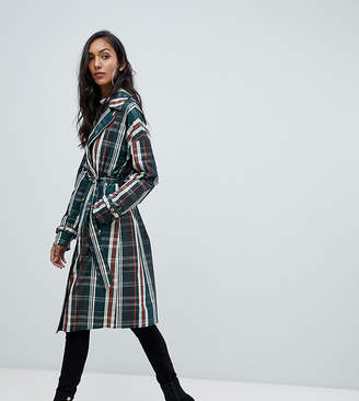Missguided Tall check classic trench in multi