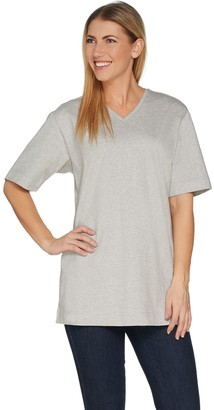 Denim & Co. Essentials Short Sleeve Oversized V-neck T-shirt