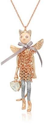 Betsey Johnson GBG) Cat Angel Pendant Long Necklace