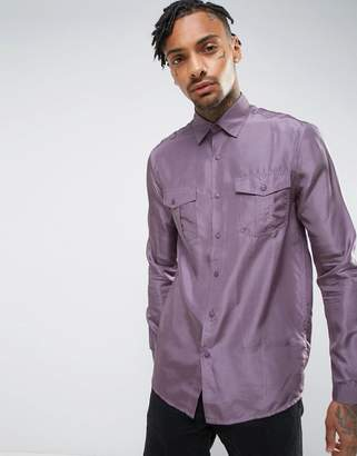 Asos Regular Fit Silk Shirt In Purple