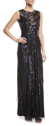 Jenny Packham Sleeveless Sequin Column Evening Gown with Golden Embellishments