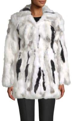 Adrienne Landau Rabbit Fur Coat