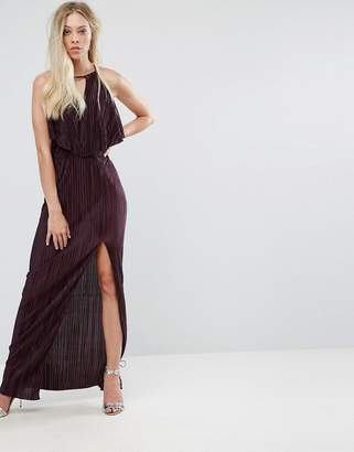 Oh My Love Grecian Frill Front Pleated Maxi Dress
