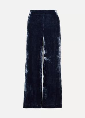 Margaux STAUD Crushed-velvet Wide-leg Pants - Storm blue