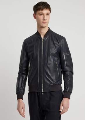Emporio Armani Soft Nappa Bomber Jacket With Double Slider Zipper
