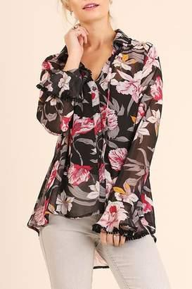 Umgee USA Orchid-Print Sheer Blouse
