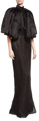 Brandon Maxwell Flounce-Sleeve Open-Back Silk Gown, Black