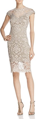 Tadashi Shoji Short-Sleeve Illusion Lace Sheath Dress $368 thestylecure.com