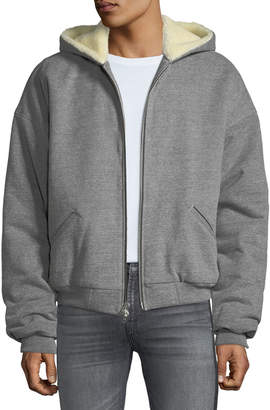 Fear Of God Men's Heathered Terry Zip-Front Alpaca Hoodie