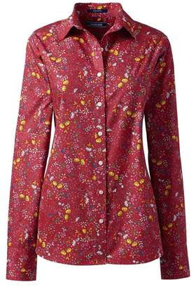 Lands' End Red Classic Fit Print Non-Iron Shirt
