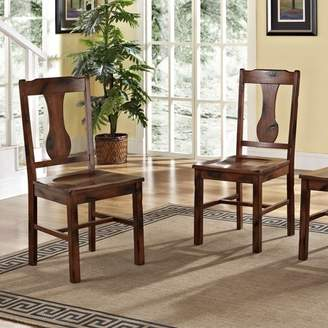 Walker Edison Traditional Distressed Dark Oak Wood Dining Kitchen Chairs, Set of 2