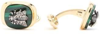 Gucci Diamond and malachite bee-embellished cufflinks