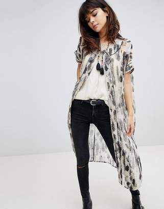 Religion Kimono With Tassel Ties In Smudge Print