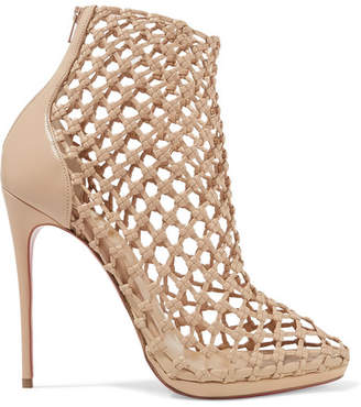 Christian Louboutin Porligat 120 Woven Leather Ankle Boots - Beige