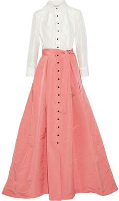 Carolina Herrera Flared Pleated Silk-Taffeta And Faille Gown