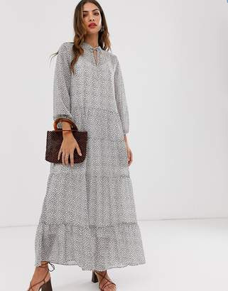 Vero Moda mosaic print tiered maxi dress