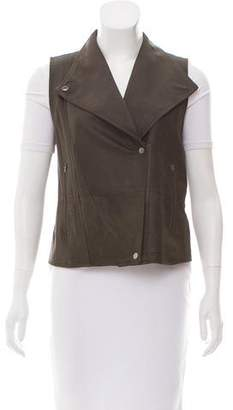Vince Double-Breasted Leather Vest
