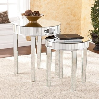 Southern Enterprises Surrey Round Mirrored Nesting Side Table 2-Piece Set, Mirrored w/ Silver