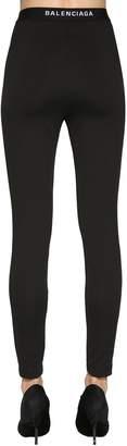 Balenciaga Logo Detail Crepe Jersey Leggings