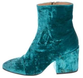 Dries Van Noten Velvet Ankle Boots Aqua Velvet Ankle Boots