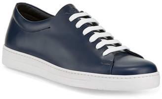 Prada Men's Calf Leather Low-Top Sneakers, Blue