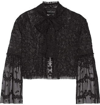 Needle & Thread - Primrose Embroidered Tulle Jacket - Black $280 thestylecure.com
