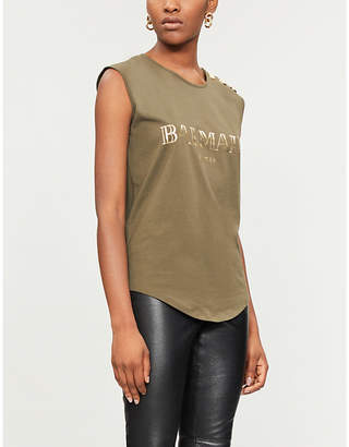 Balmain foiled-logo cotton sleeveless t-shirt