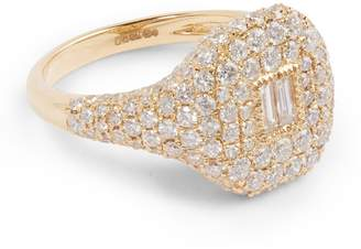 Shay Yellow Gold and Diamond New Modern Pave Pinky Ring