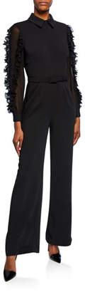 Badgley Mischka Long-Sleeve Belted Ruffle Jumpsuit