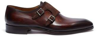 Magnanni Suede double monk strap leather shoes