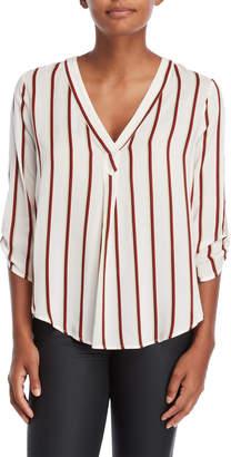 Lush Striped V-Neck Blouse