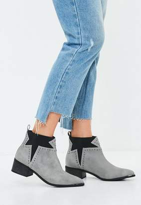 Missguided Gray Star Studded Western Ankle Boot