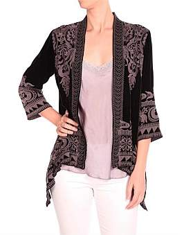 Johnny Was Hirsch Velvet Draped Cardigan Co