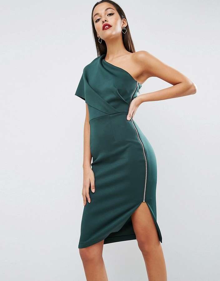 AsosASOS One Shoulder Scuba Deep Fold Midi Dress with Exposed Zip