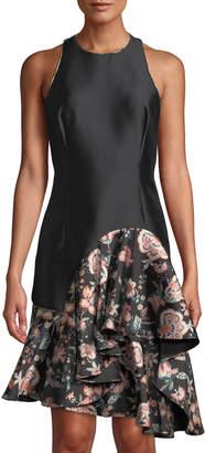 Sachin + Babi Cleo Floral-Ruffle Trimmed Satin Dress
