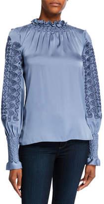 Kobi Halperin Talita High-Neck Long-Sleeve Silk Blouse with Embroidery