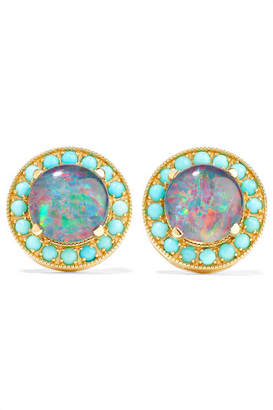 Andrea Fohrman Kat 18-karat Gold, Opal And Turquoise Earrings - one size