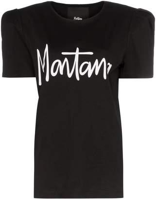 Montana logo print padded shoulder T-shirt