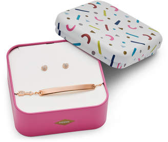 Fossil Heart and Arrow Rose Gold-Tone Stainless Steel Studs and Bracelet Box Set