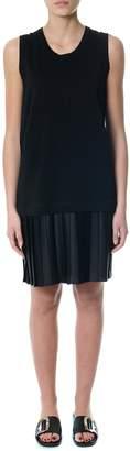 Dondup Black Cotton Blend Layered Pleated Dress