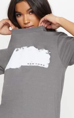 PrettyLittleThing Charcoal Grey New York Paint Slogan Oversized T Shirt