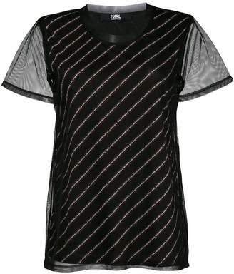 Karl Lagerfeld logo striped blouse