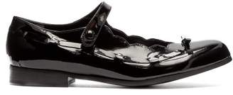 Comme des Garcons Scalloped Patent Leather Mary Jane Flats - Womens - Black