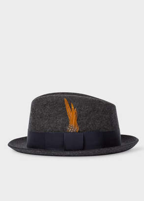 Paul Smith Men's Charcoal Grey Wool-Felt Trilby With Feather